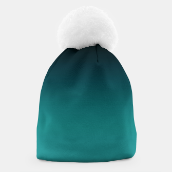 Thumbnail image of Black turquoise ombre gradient Beanie, Live Heroes