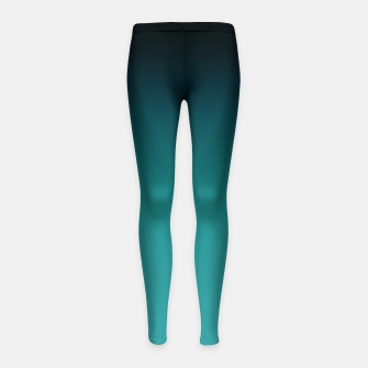 Thumbnail image of Black turquoise ombre gradient Girl's Leggings, Live Heroes