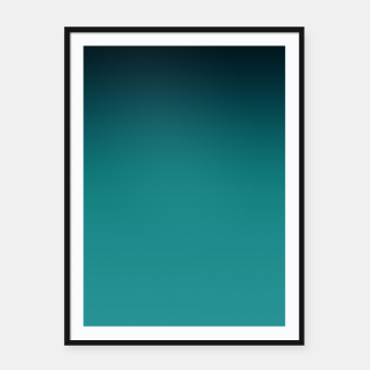 Thumbnail image of Black turquoise ombre gradient Framed poster, Live Heroes