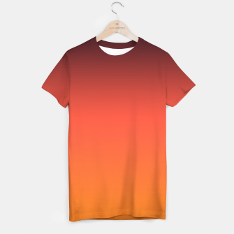 Thumbnail image of Ombre gradient orange brown colors T-shirt, Live Heroes