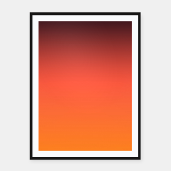Thumbnail image of Ombre gradient orange brown colors Framed poster, Live Heroes