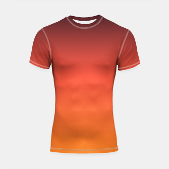 Thumbnail image of Ombre gradient orange brown colors Shortsleeve Rashguard, Live Heroes