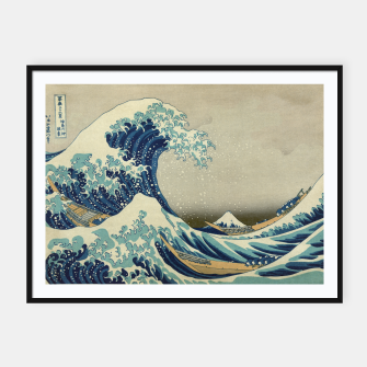 Thumbnail image of The Classic Japanese Great Wave off Kanagawa by Hokusai Framed poster, Live Heroes