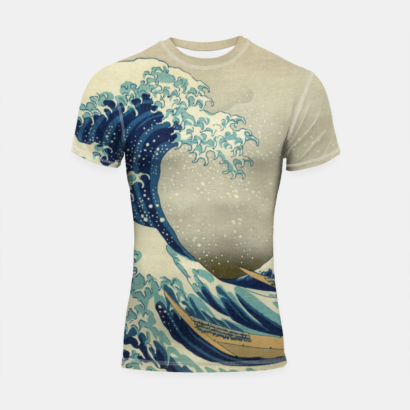 7c78543424e5d The Classic Japanese Great Wave off Kanagawa by Hokusai Shortsleeve  rashguard, Live Heroes