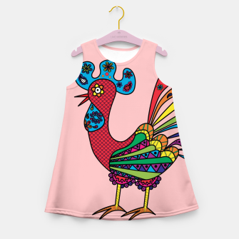 Thumbnail image of Decorative colored rooster Girl's Summer Dress, Live Heroes