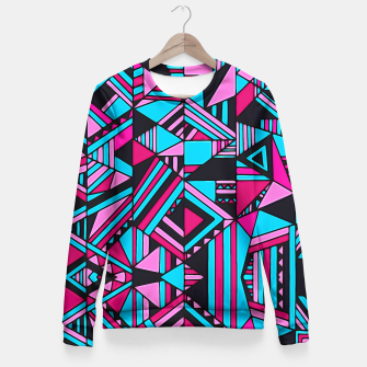 Thumbnail image of Black Turquoise Pink Geometric Design  Fitted Waist Sweater, Live Heroes