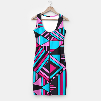 Thumbnail image of Black Turquoise Pink Geometric Design  Simple Dress, Live Heroes