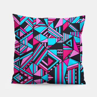 Thumbnail image of Black Turquoise Pink Geometric Design  Pillow, Live Heroes