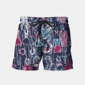 Thumbnail image of funny fashion girls pattern Swim Shorts, Live Heroes