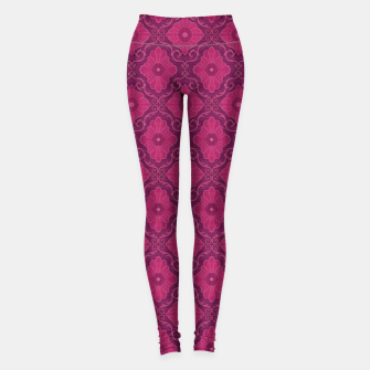 "Thumbnail image of ""Ruby flower"" bohemian pattern Leggings, Live Heroes"