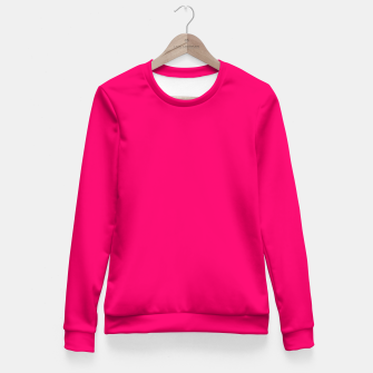 Bright Fluorescent Pink Neon Fitted Waist Sweater thumbnail image