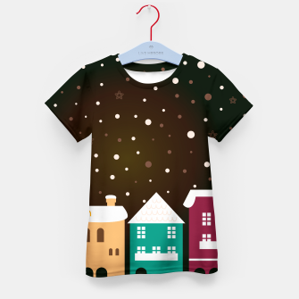Thumbnail image of Kids tshirt : Fairytale snowing Town BROWN, Live Heroes