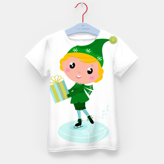 Thumbnail image of Kids artistic tshirt with hand-drawn Elf green, Live Heroes