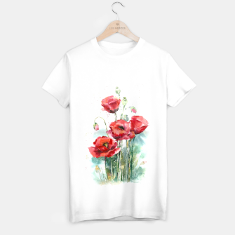Miniaturka Watercolor poppy flowers T-shirt regular, Live Heroes