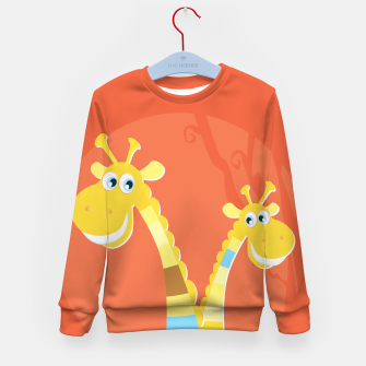 Thumbnail image of Cute hand-drawn Giraffes on KIDS SWEATER HOT RED, Live Heroes