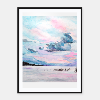 Imagen en miniatura de Colorful seaview in watercolor Framed poster, Live Heroes