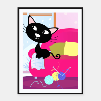 Thumbnail image of Framed poster : CUTE BLACK CAT Original illustration, Live Heroes