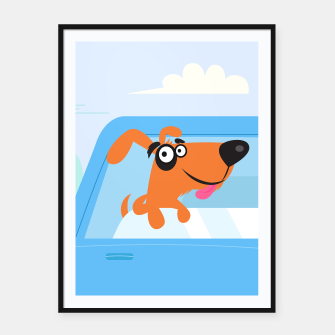 Thumbnail image of Framed poster : WONDERFUL KIDS DOGGIE IN TAXI BLUE, Live Heroes