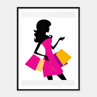 Thumbnail image of Framed poster : Amazing shopping girl Silhouette, Live Heroes