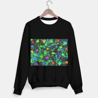 Miniaturka maple leaf in pink blue green yellow orange with green creepers plants background Sweater regular, Live Heroes