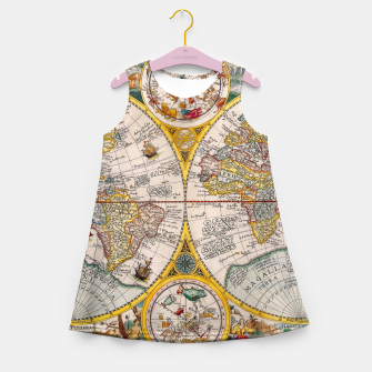 Thumbnail image of ORBIS TERRA RVM Old-Cartographic Map Girl's Summer Dress, Live Heroes