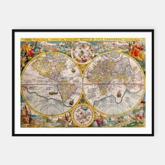 Thumbnail image of ORBIS TERRA RVM Old-Cartographic Map Framed poster, Live Heroes