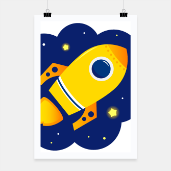 Thumbnail image of Framed poster with Gold handdrawn Rocket on blue Sky, Live Heroes
