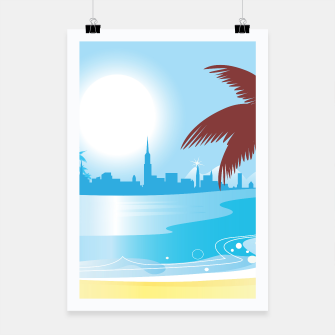 Miniaturka Poster with amazing Town silhouette with Palm, Live Heroes