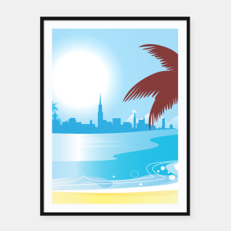 Miniaturka Amazing framed poster with Town and beach BLUE, Live Heroes