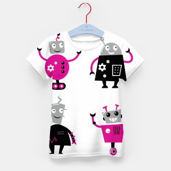 Thumbnail image of Kids creative T-Shirt with happy Robots illustrated, Live Heroes