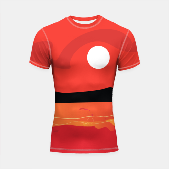 Thumbnail image of Shortsleeve Rashguard Red with Vintage coastal painting, Live Heroes