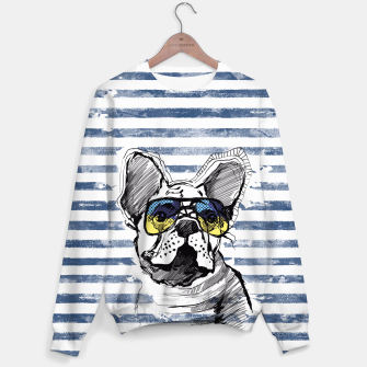 Miniature de image de French Bulldog with stripes Sweater, Live Heroes
