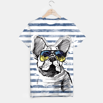 Miniature de image de French Bulldog with stripes T-shirt, Live Heroes
