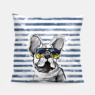 Thumbnail image of French Bulldog with stripes Pillow, Live Heroes