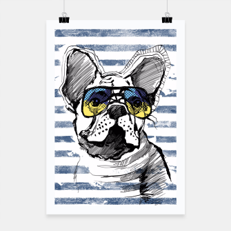 Imagen en miniatura de French Bulldog with stripes Poster, Live Heroes