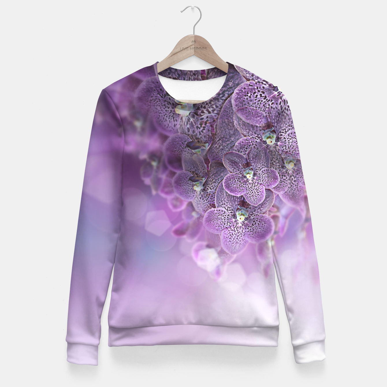 Image of Violet Orchids Fitted Waist Sweater - Live Heroes