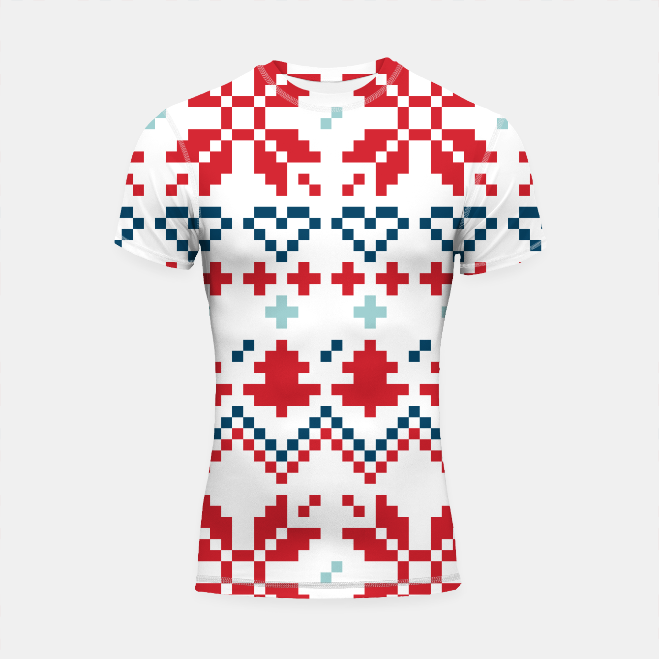 Foto Shortsleeve Rashguard : SPORTY FIT COLLECTION red white Nordic - Live Heroes