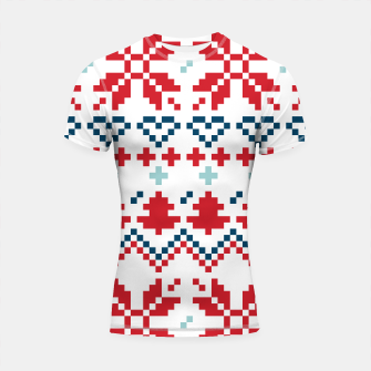Thumbnail image of Shortsleeve Rashguard : SPORTY FIT COLLECTION red white Nordic, Live Heroes