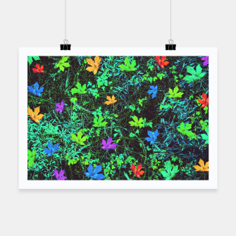Thumbnail image of maple leaf in pink blue green yellow orange with green creepers plants background Poster, Live Heroes