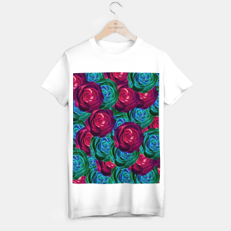 Thumbnail image of closeup blooming roses in red blue and green T-shirt regular, Live Heroes