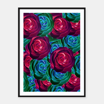 Thumbnail image of closeup blooming roses in red blue and green Framed poster, Live Heroes