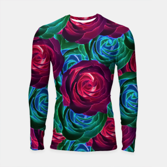Thumbnail image of closeup blooming roses in red blue and green Longsleeve Rashguard , Live Heroes