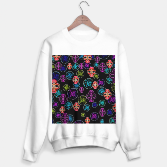 Miniaturka skull art portrait and roses in pink purple blue yellow with black background Sweater regular, Live Heroes