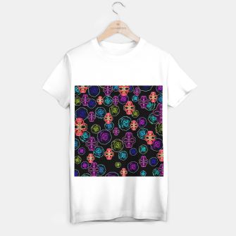 Thumbnail image of skull art portrait and roses in pink purple blue yellow with black background T-shirt regular, Live Heroes
