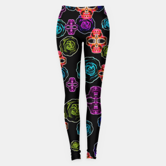 Miniature de image de skull art portrait and roses in pink purple blue yellow with black background Leggings, Live Heroes