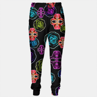 Thumbnail image of skull art portrait and roses in pink purple blue yellow with black background Sweatpants, Live Heroes