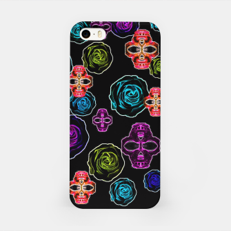 Thumbnail image of skull art portrait and roses in pink purple blue yellow with black background iPhone Case, Live Heroes