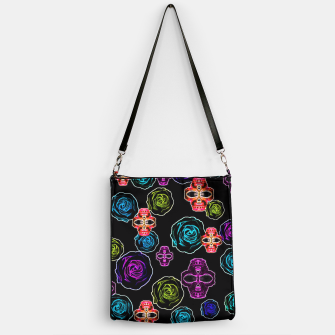 Thumbnail image of skull art portrait and roses in pink purple blue yellow with black background Handbag, Live Heroes