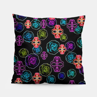 Thumbnail image of skull art portrait and roses in pink purple blue yellow with black background Pillow, Live Heroes