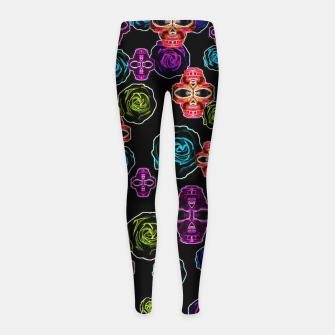 Thumbnail image of skull art portrait and roses in pink purple blue yellow with black background Girl's Leggings, Live Heroes